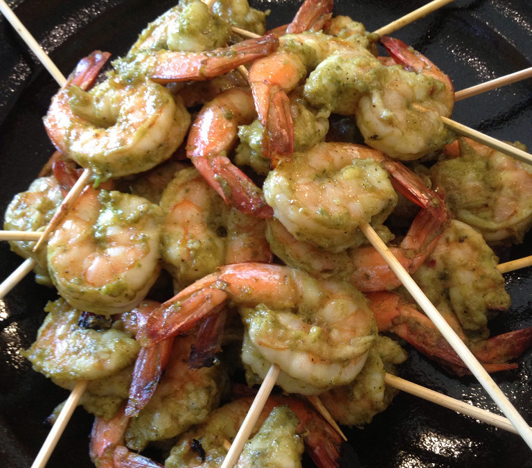 Savory Suppers: Grilled Pesto Shrimp